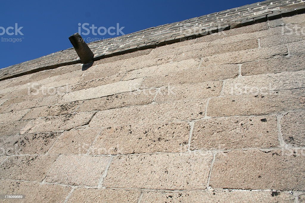 Detail Stone Bricks Great Wall of China close to Beijing royalty-free stock photo