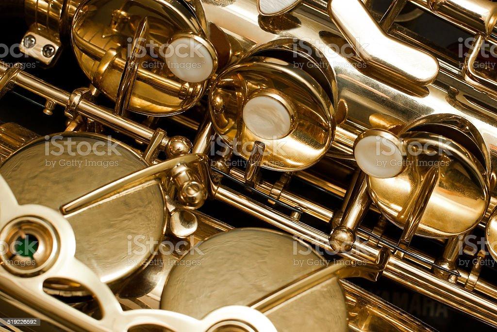 Detail valves saxophone stock photo