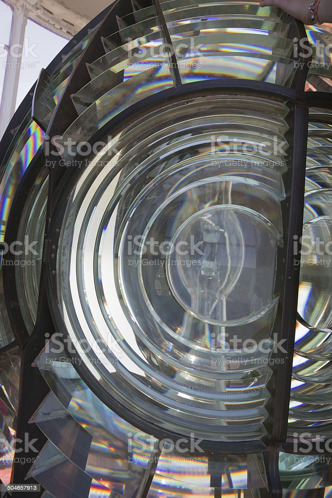 Detail view of a lighthouses fresnel lens stock photo