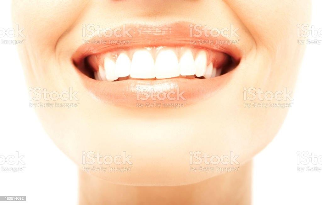 Detail view of a young woman smiling royalty-free stock photo