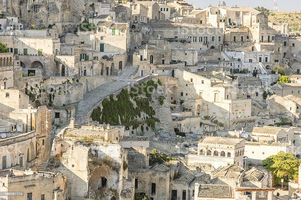 Detail view of Matera Rocks stock photo