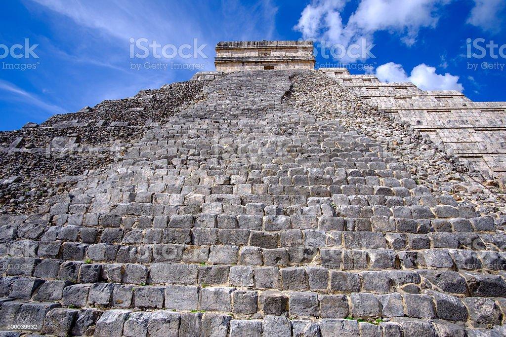 Detail view of Mayan pyramid El Castillo in Chichen Itza stock photo