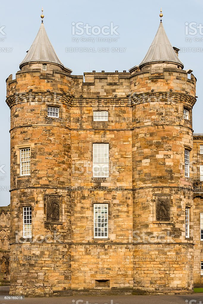 Detail view of the Palace of Holyroodhouse in Edinburgh, Scotlan stock photo