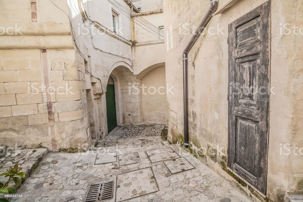 detail view of typical house (Sassi di Matera) and church of Matera stock photo