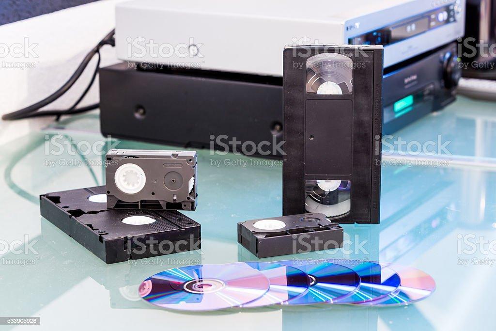 Detail views of storage media stock photo