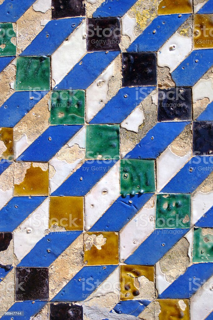 Detail, wall tiles, Alcazar, Seville, Spain royalty-free stock photo