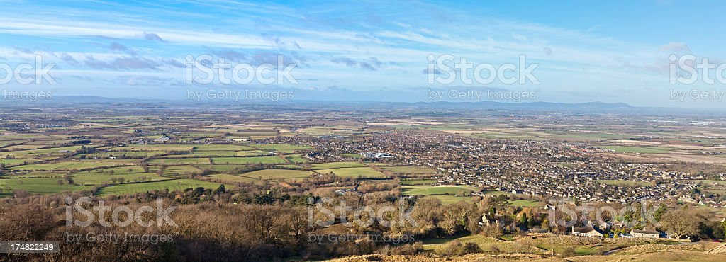 Detailed and huge panorama Severn Valley Gloucestershire UK royalty-free stock photo