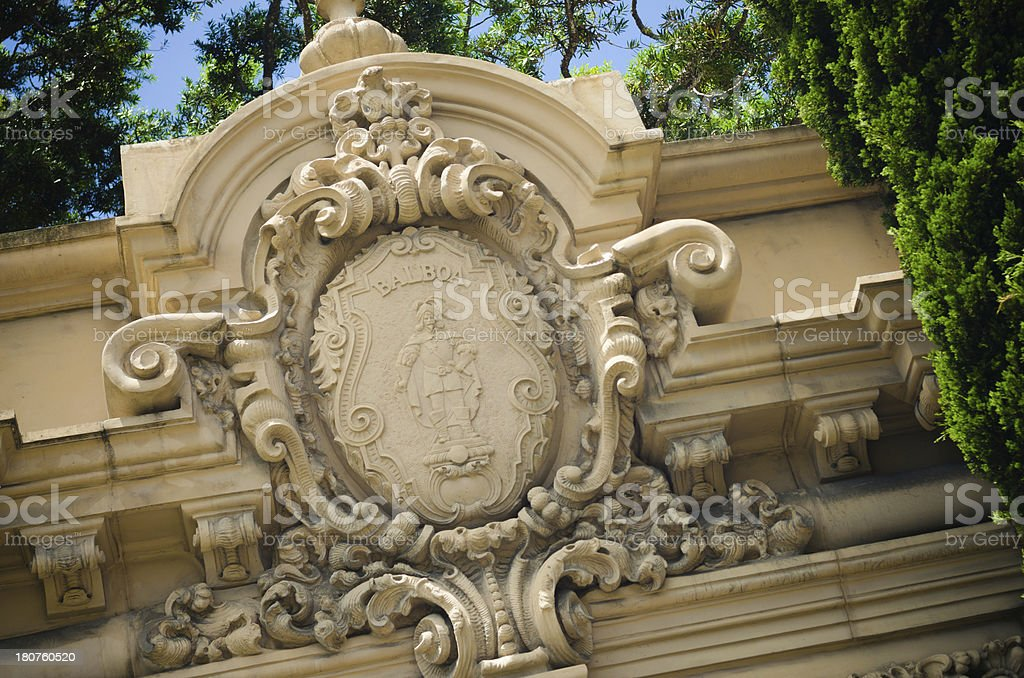 Detailed architectural element of built structure at Balboa Park royalty-free stock photo