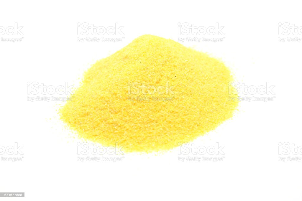 Detailed but simple image of  polenta on white stock photo