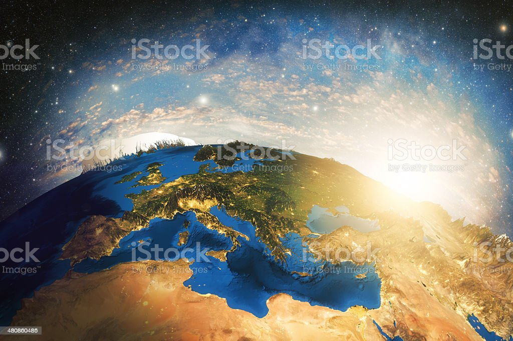 Detailed colorful Earth stock photo