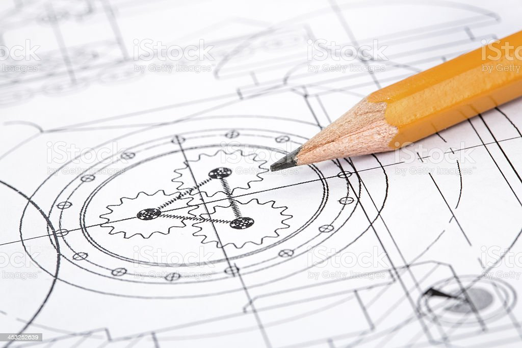 A detailed drawing with a sharpened standard pencil stock photo
