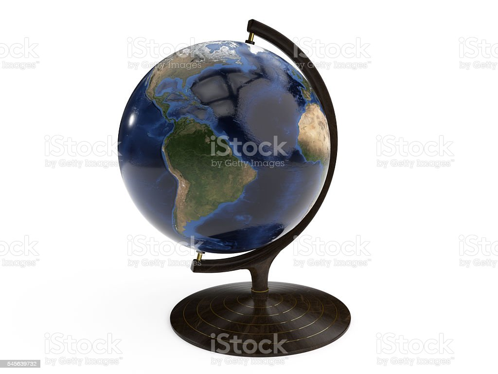 Detailed Globe on Wooden Stand stock photo