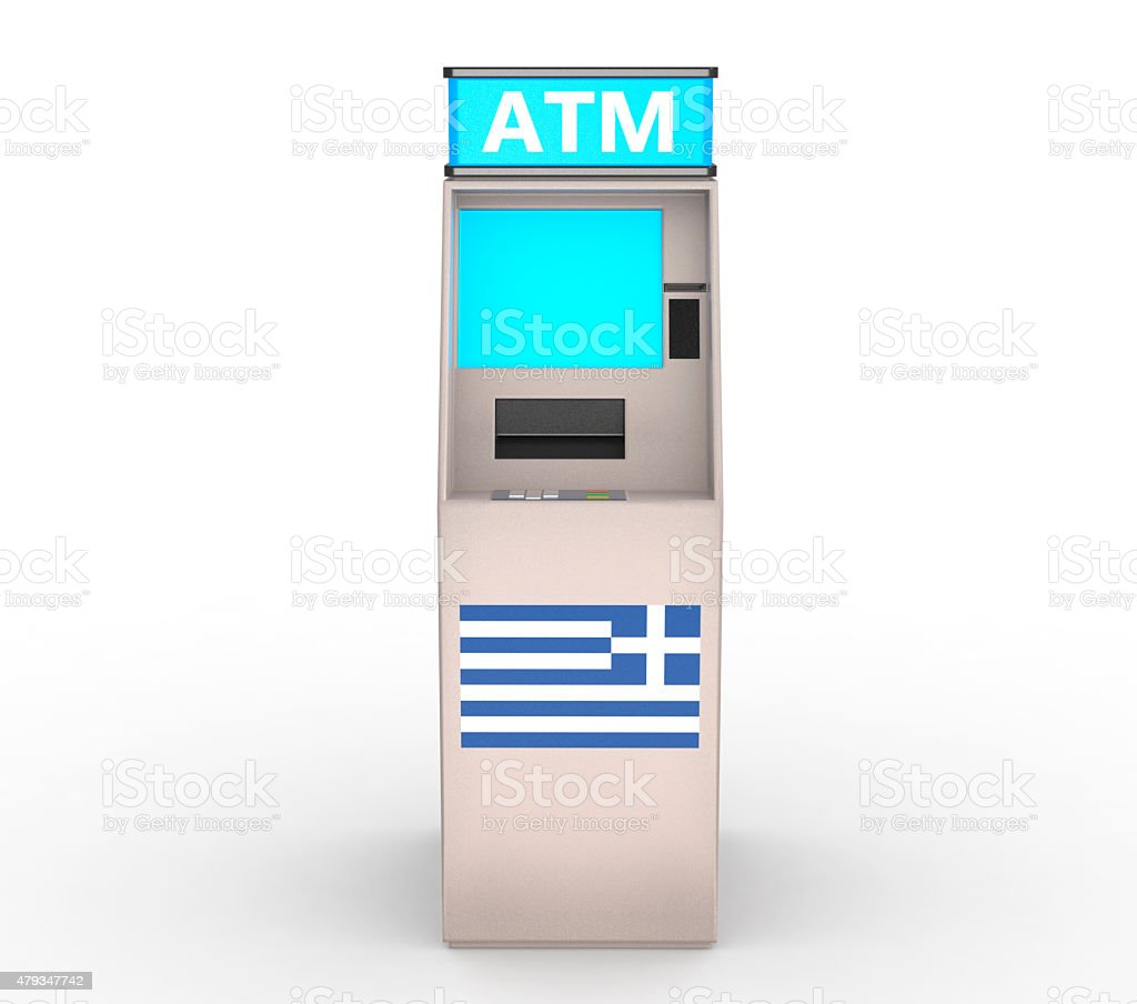 Detailed Image of an Greek ATM stock photo