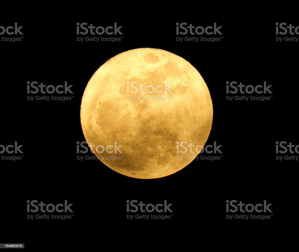 detailed image of yellow moon on a black background royalty-free stock photo