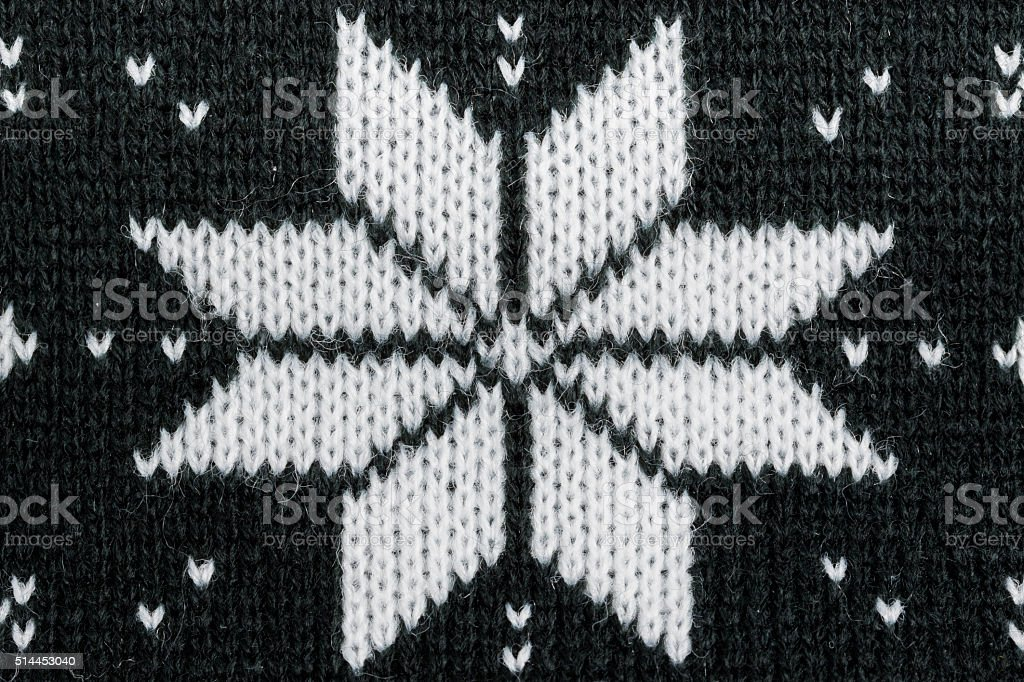 Detailed knitted black jacquard pattern. stock photo