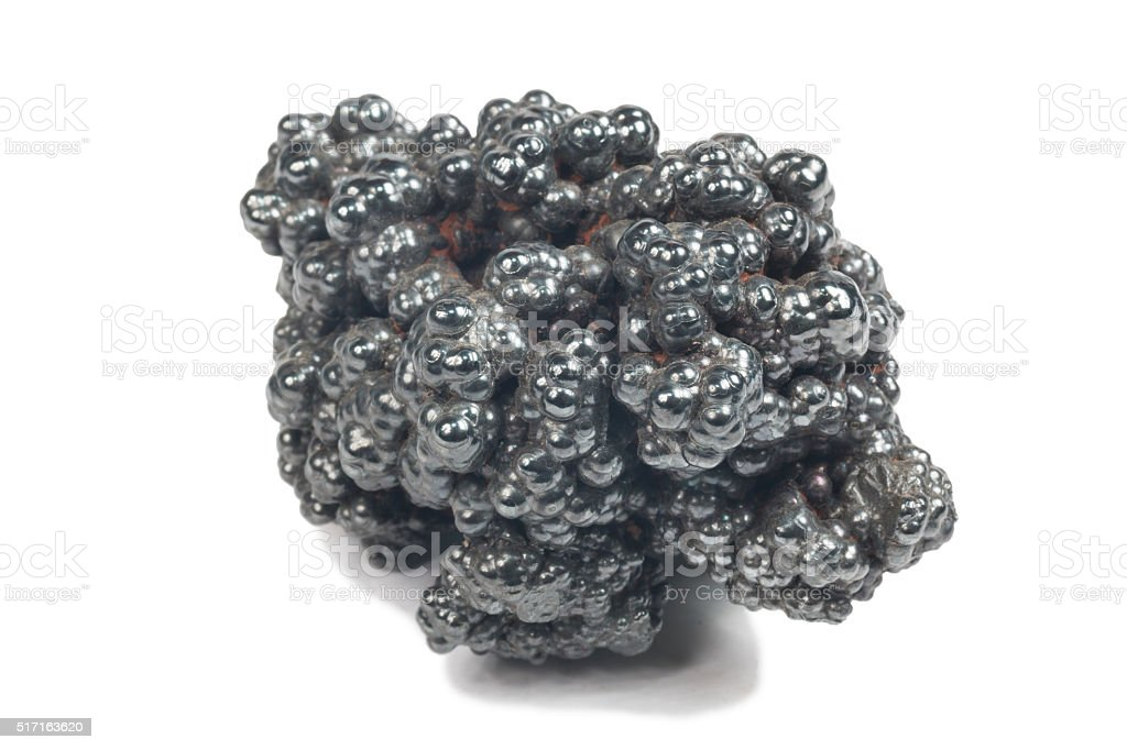 detailed macro photo of Hematite mineral (sacred mineral) stock photo