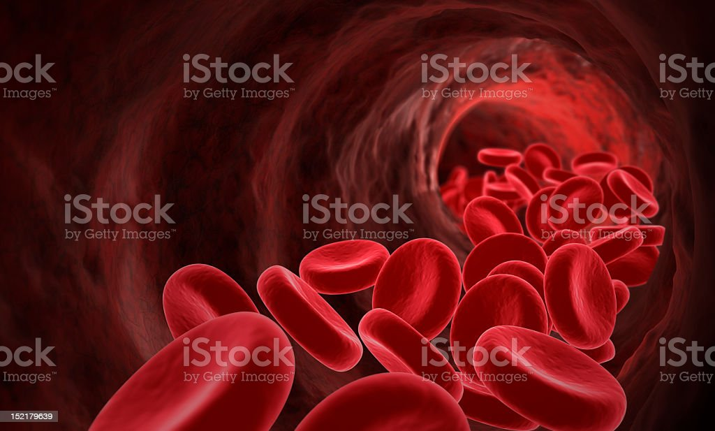 Detailed picture of the molecules in flowing blood royalty-free stock photo