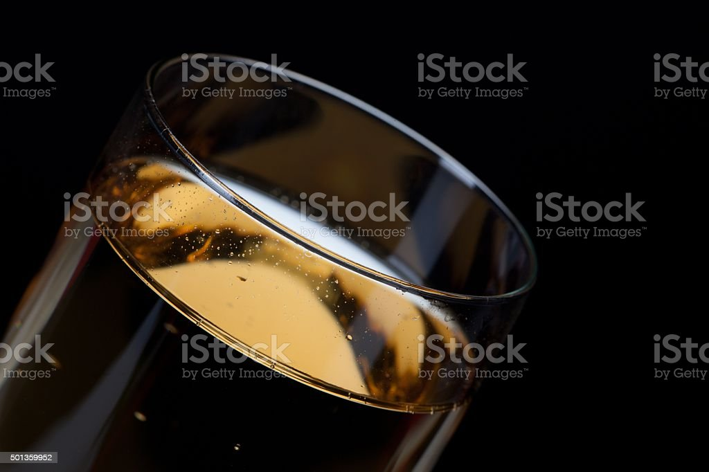 detailed shot of a glass full of champagne stock photo