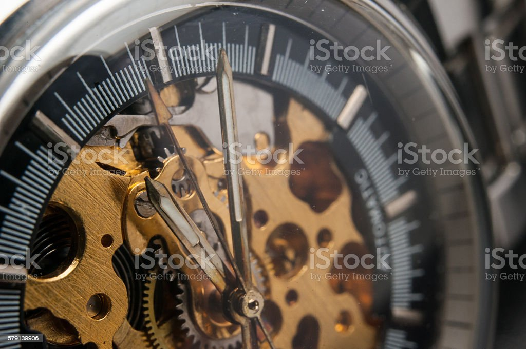 Detailed shot of a vintage watch or old watch. stock photo