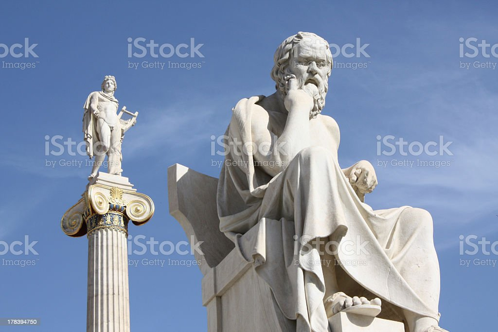 Detailed statues of Socrates and Apollo in Athens, Greece royalty-free stock photo