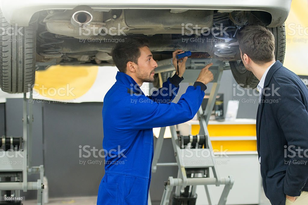 Detailed vehicle assessment stock photo