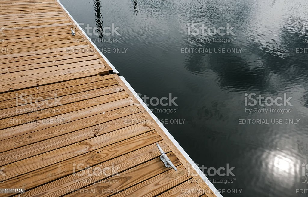 Detailed View Of A Self Levelling Jetty And Mooring stock photo