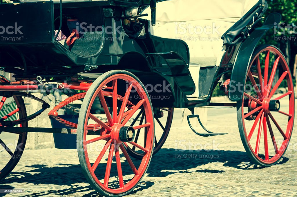 Detailed view of antique carriage, side view stock photo