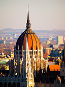 Detailed view of Hungarian Parliament historical building, aka Orszaghaz, with