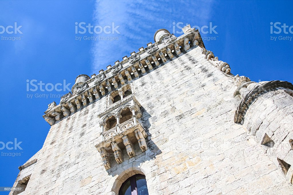Detailed view of Lisbon's famous Belem Tower public monument stock photo