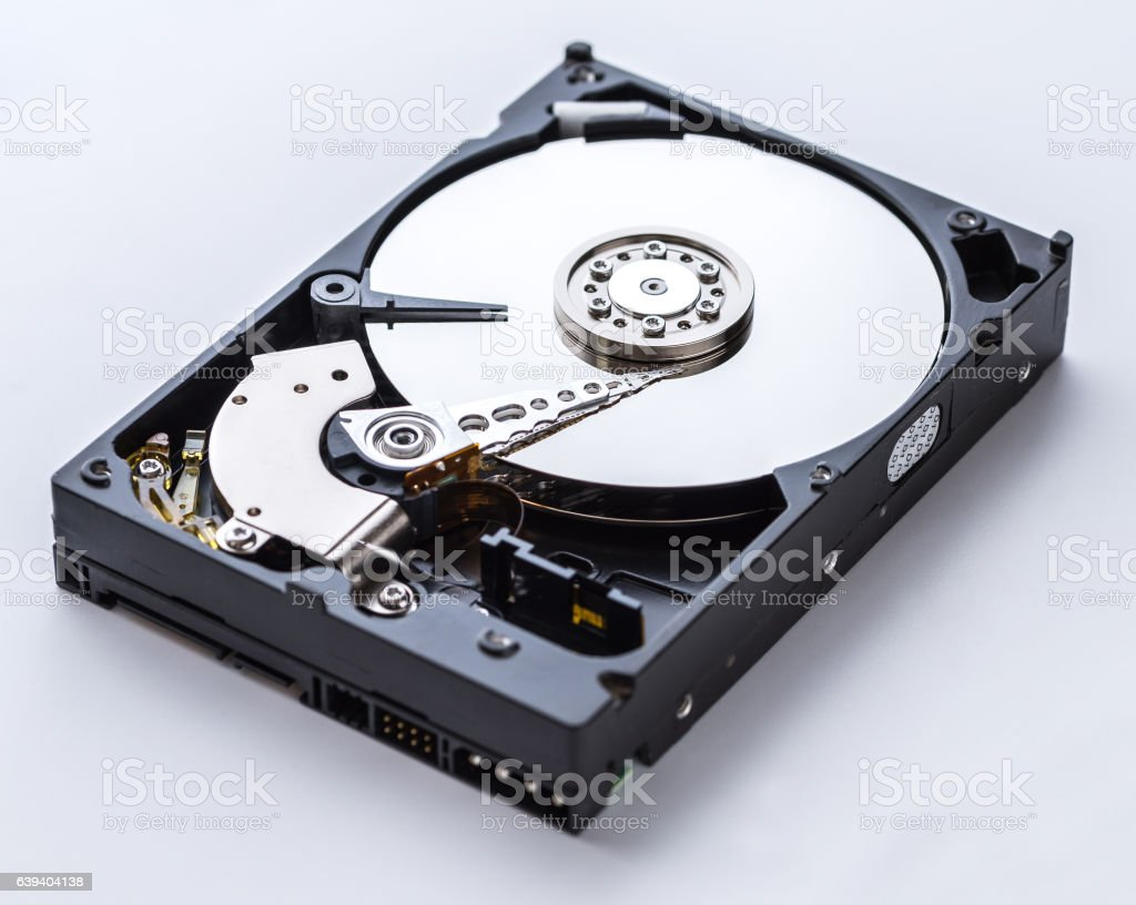 Detailed view of the inside of a hard disk drive stock photo