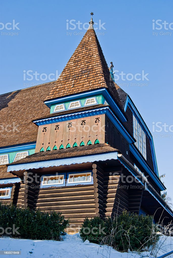 Detailed view on the wooden church of Miskolc royalty-free stock photo