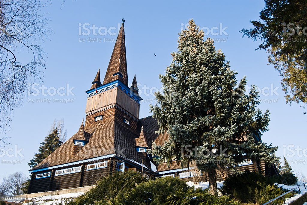 Detailed view on the wooden church of Miskolc stock photo