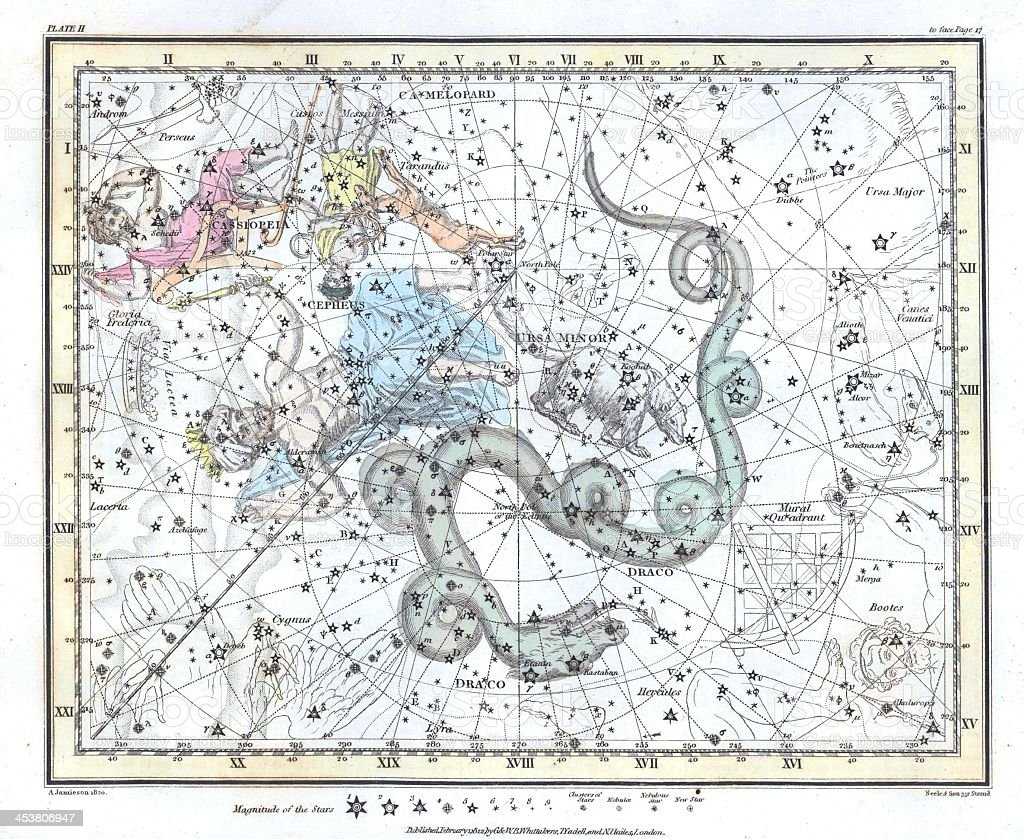 Detailed vintage light colored constellation map stock photo