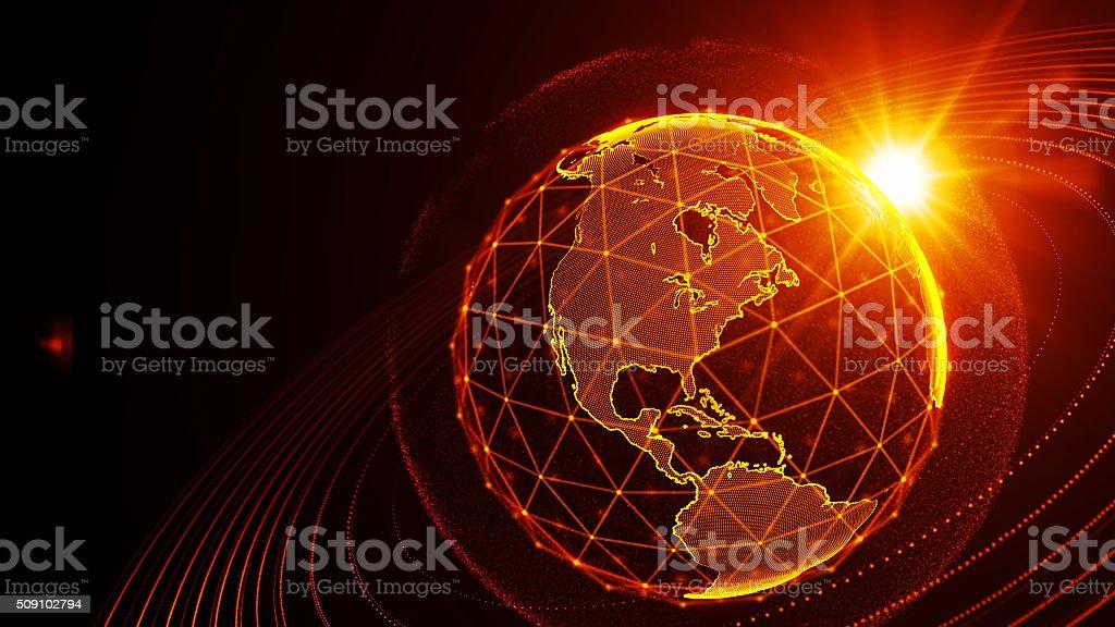 detailed virtual planet Earth. Technological digital globe world stock photo