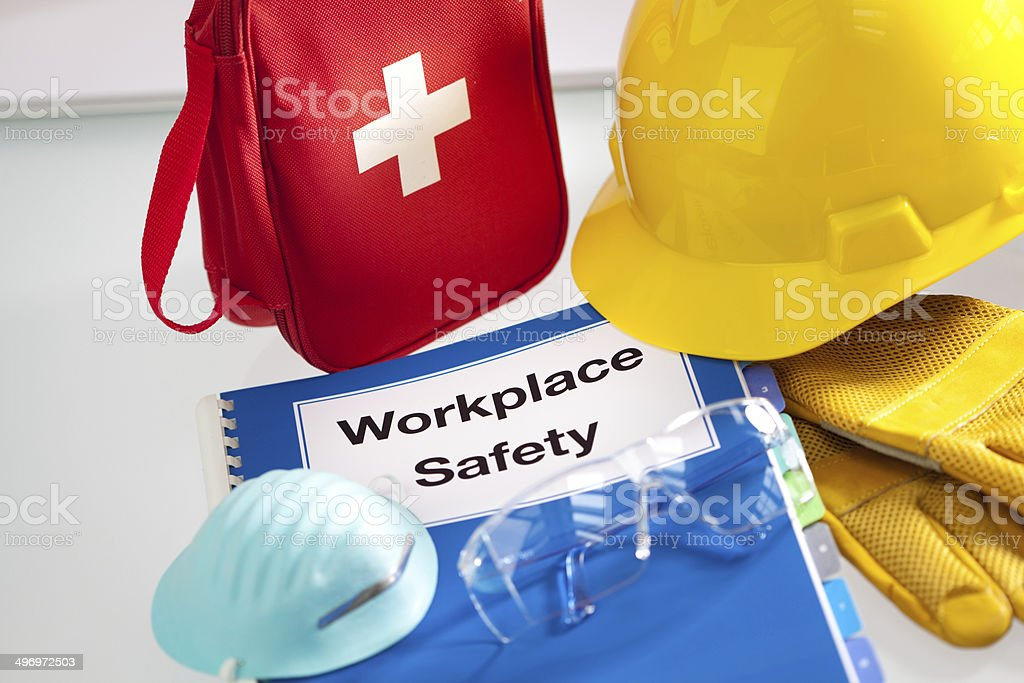 Workplace Safety Handbook Manual and Equipment Horizontal stock photo