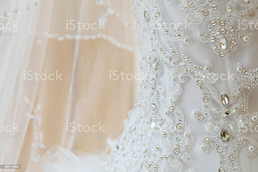 Details and designs of a wedding dress royalty-free stock photo