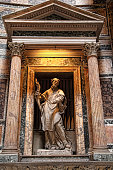 Details and interior of the ancient Roman temple Pantheon,