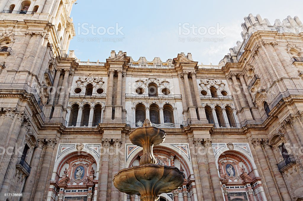 details architecture of Spanish city. Malaga stock photo