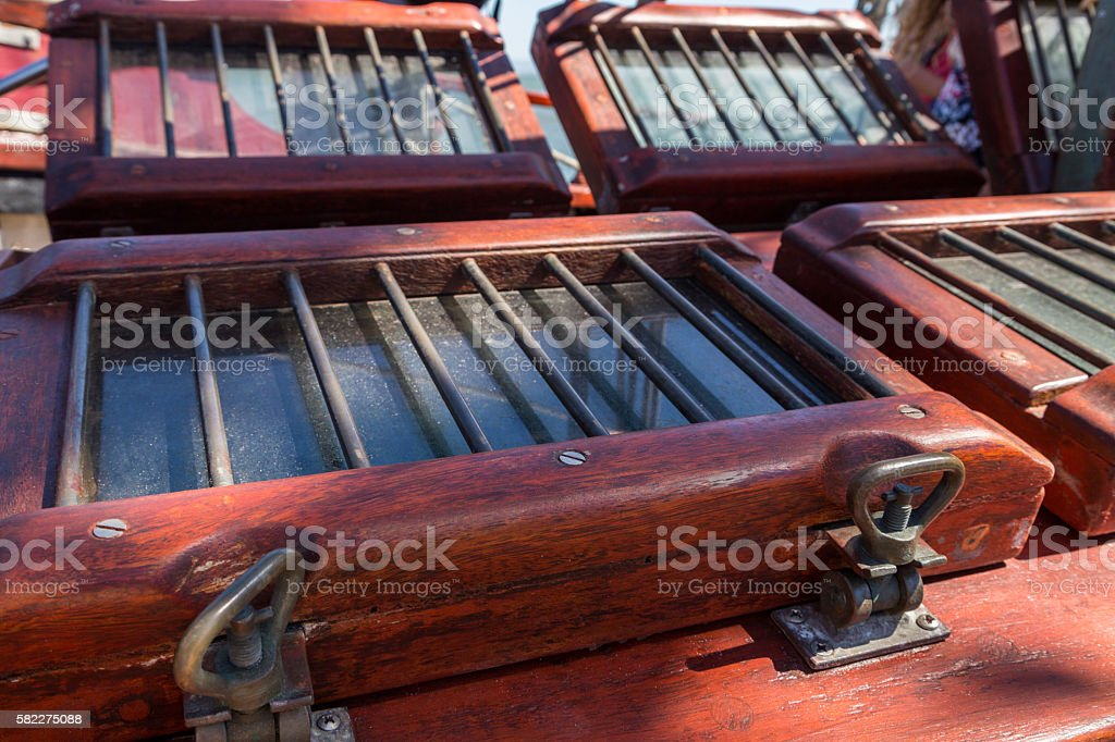 details equipment of ship on deck stock photo