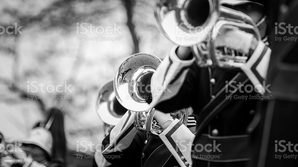 Details from a Music band, showband, fanfare or drumband stock photo
