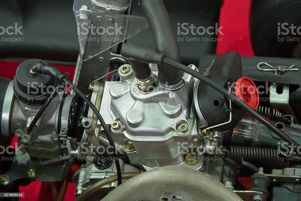 Details of a new go-kart engine stock photo