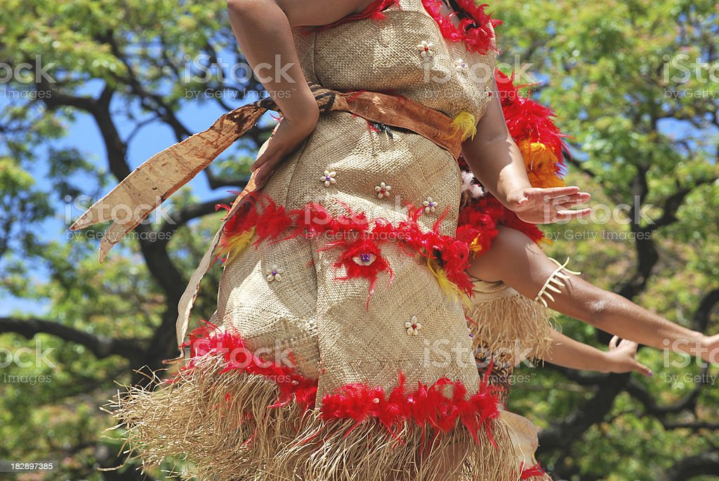 Details of a polynesian costume stock photo