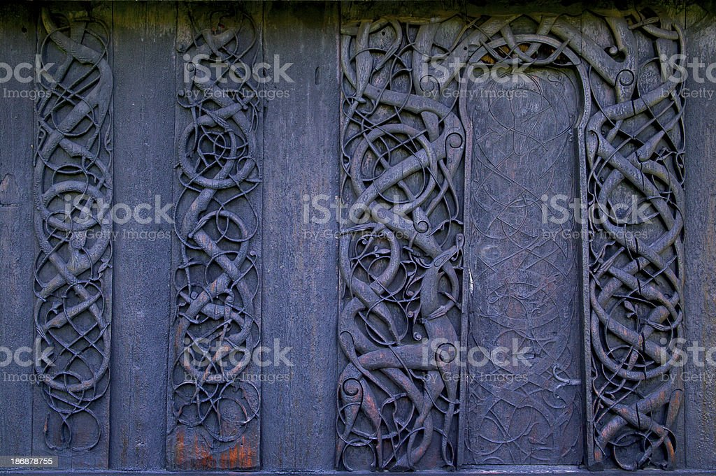 Details of a stave church in norway royalty-free stock photo