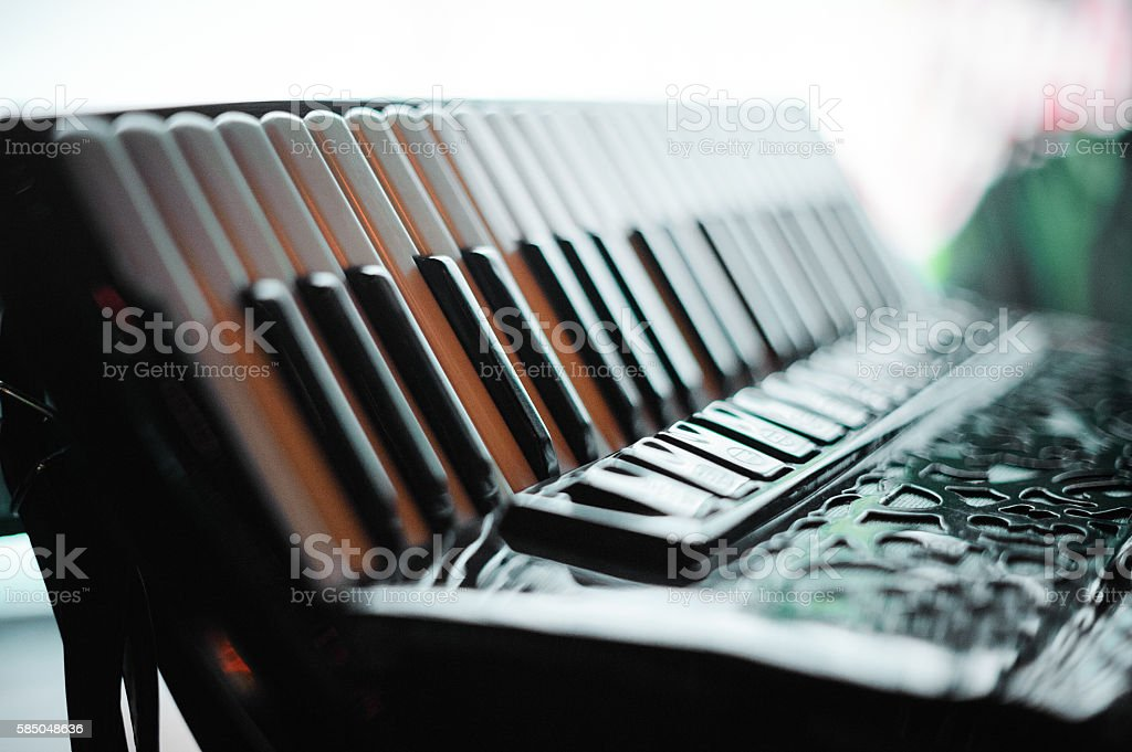 Details of an old accordion stock photo