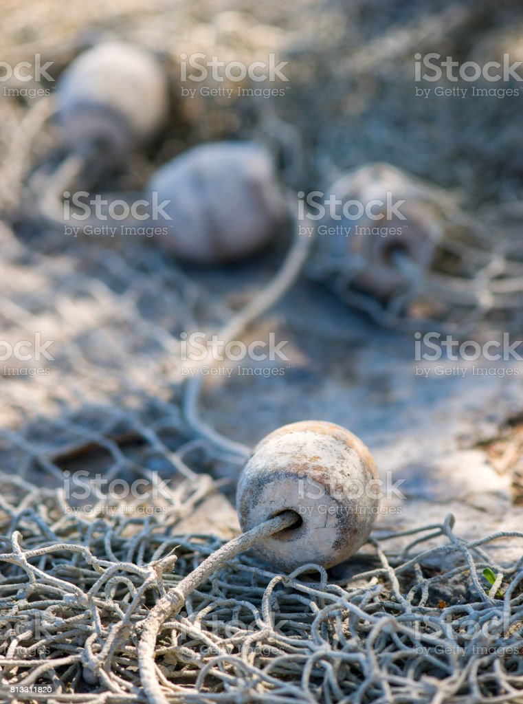 details of an old fishing net stock photo