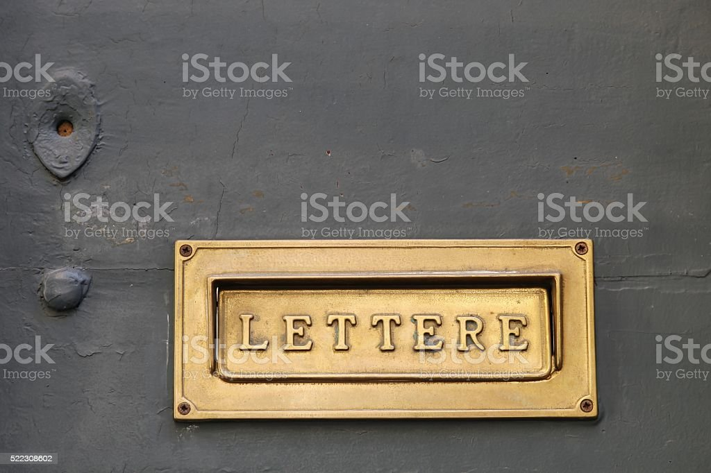Details of an old Italian letter box stock photo