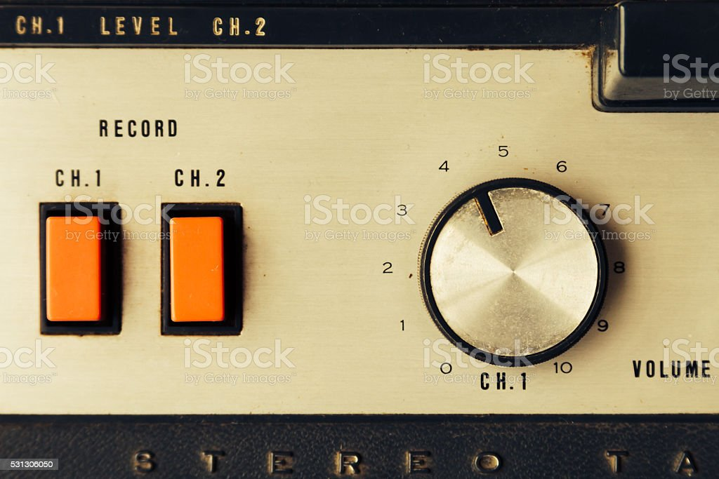 Details of an old open tape recorder stock photo