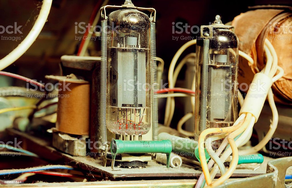 Details of an old tube amp inside radio stock photo
