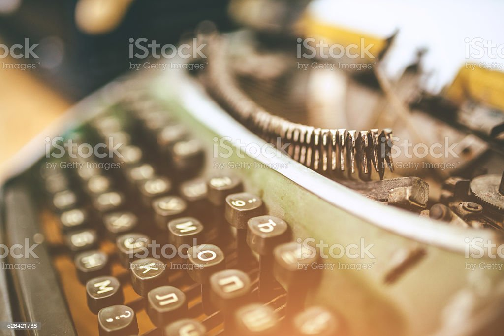Details of an old typewriting machine stock photo