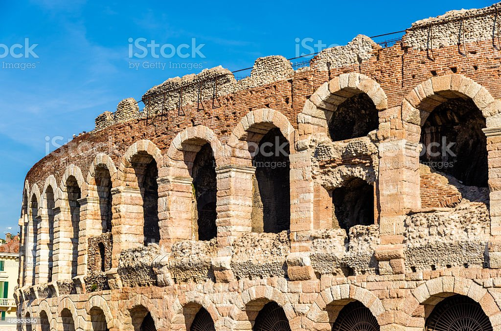 Details of Arena di Verona - Italy stock photo